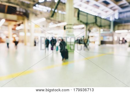 Blur People Rush In Train Station