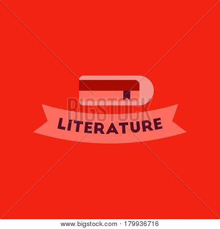 flat icon on stylish background Literature lesson