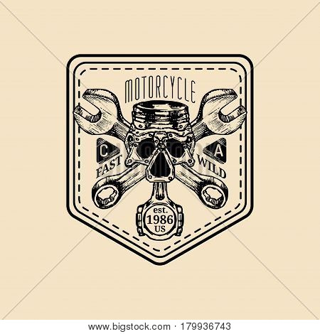 Vector vintage motorcycle repair logo. Retro garage label with hand sketched wrenches and skull. Custom chopper store emblem. Biker club sign.