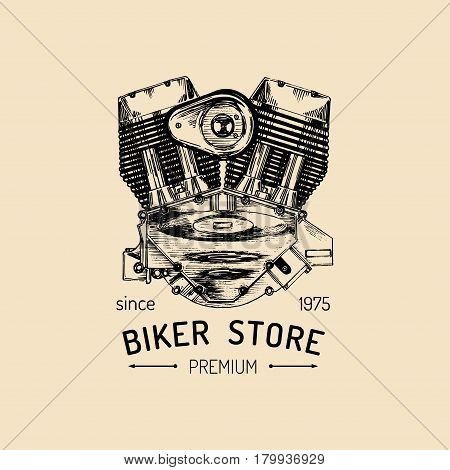 Vector vintage motorcycle repair logo with engine. Retro hand sketched garage label. Custom chopper store emblem. Biker club sign.