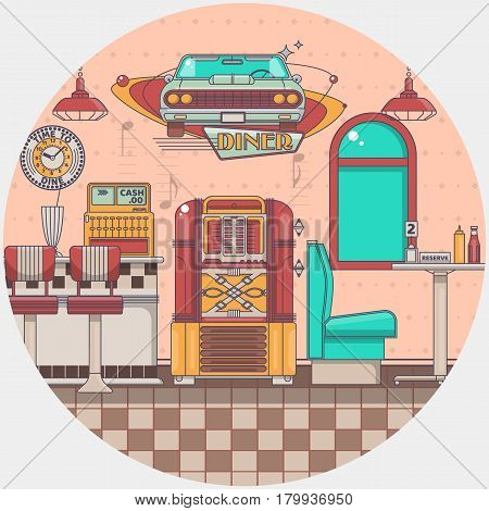Interior of an old american diner restaurant Old jukebox in a bar Vector illustration