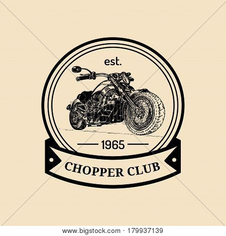 Vector motorcycle advertising poster. Hand sketched illustration for MC badge. Detailed bike logo for custom company, chopper store, garage label, t-shirt print. poster