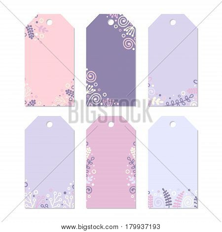 Set of six printable tags with hand drawn decor. Isolated. Collection of doodle spring label. Floral design vector illustration. Pastel colors - pink violet lilak yellow and white.