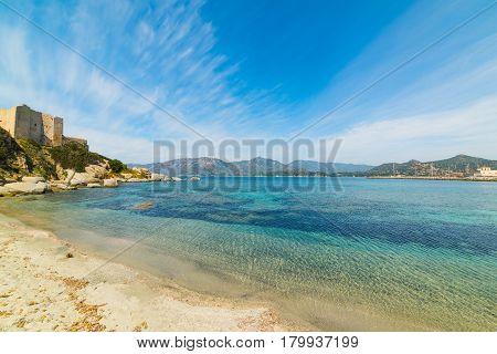 Fortezza vecchia beach in Sardinia in Italy