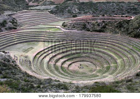 Incan agricultural terraces at Moray, Cusco, Peru, South America