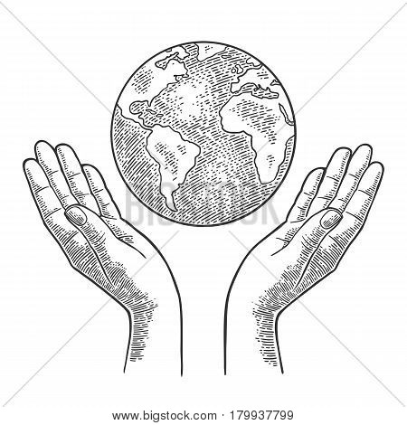 Planet in open female human palms. For Earth Day. Vector black vintage engraving illustration isolated on a white background. For web poster info graphic.