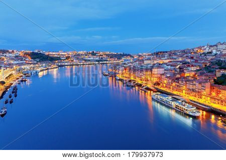 Aerial view of Porto from the bridge of Don Luis over the river Duero.