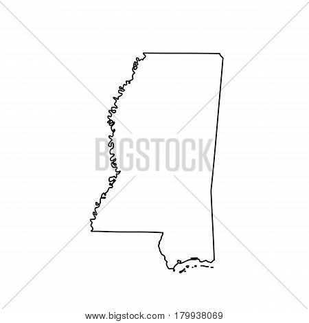 Map of the U.S. state of Mississippi. Vector illustration