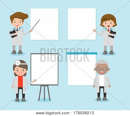 set of doctor character with blank banners, practitioner young doctor man and woman with placards for your message. Hospital medical team doctors