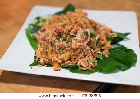 Thai food spicy salad with onion and herb popular Thai food Spicy