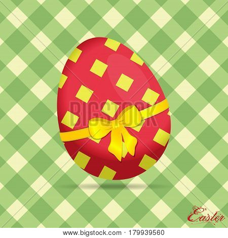 Crossed Stripes Easter Egg on Green and Cream Background with Floral Text