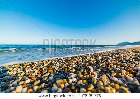 Pebbles in Sa Marina Tramalitza beach Sardinia
