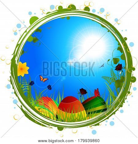 Green Easter Border with Striped Eggs Grass Butterfly and Blue Sunny Sky