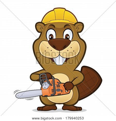 Clipart picture of a beaver cartoon character wearing a construction hat and holding a chainsaw