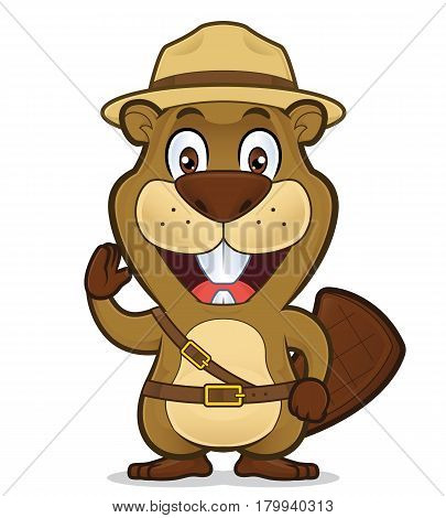 Clipart picture of a boy scout beaver cartoon character