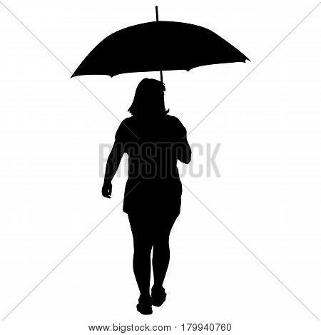 Black silhouettes of women under the umbrella.