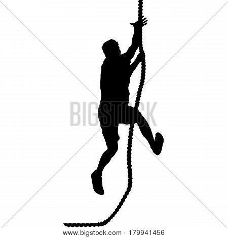 Black silhouette Mountain climber climbing a tightrope up on hands.