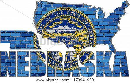 Nebraska on a brick wall with effect - 3D Illustration