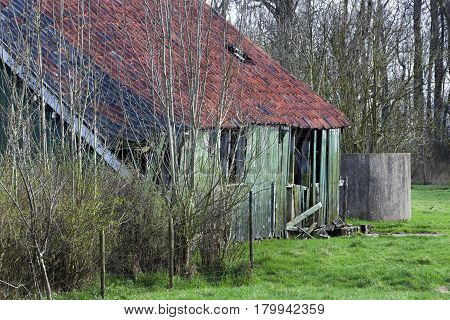 Old green wooden barn with red roof tiles