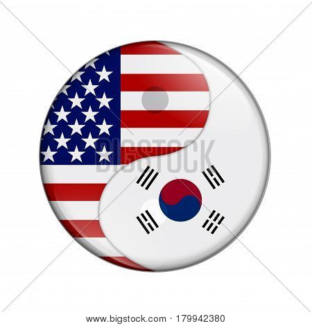 USA and South Korea working together The US flag and South Korean flag on a yin yang symbol isolated over white 3D Illustration