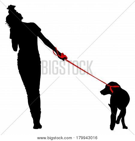 Silhouette of people and dog. Vector illustration.
