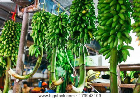 Male, Maldives - December 17, 2016: Indoors fresh fruits and vegetables market in city Male the capital of the Maldives