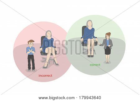 Correctly and incorrectly sit on an office chair. Little people show medical advice. vector illustration.