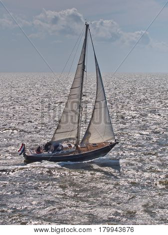 Fast Sailing Boat In Stormy Weather In The Netherlands