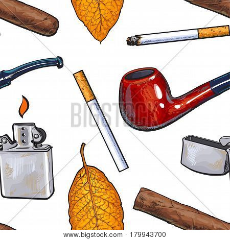Seamless pattern of smoking pipe, lighter, cigar, cigarettes and tobacco leaves, sketch vector illustration on white background. Hand drawn smoking attributes pattern for banner, wrap, textile design
