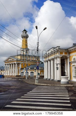 Travel Russia. Kostroma city fire tower on central Susanin place
