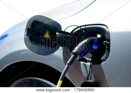 Close up of charging battery of an electric car