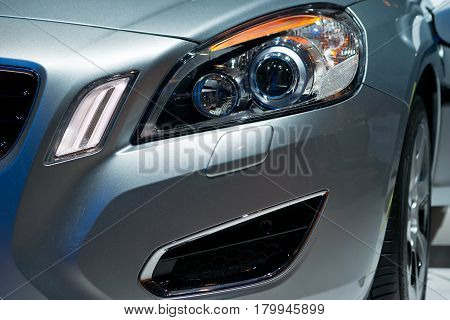 Detail of a modern and fast car with headlight