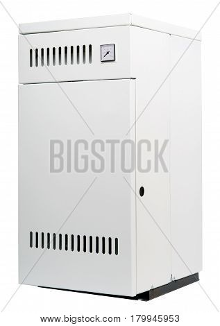 A residential gas heater isolated on white