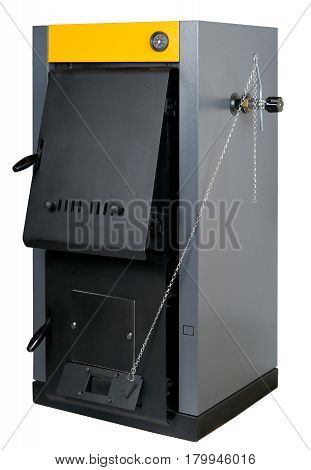 A residential furnace burns firewood or coal and makes warm air isolated on white