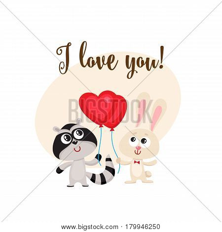 I love you postcard, banner with rabbit and raccoon holding red heart shaped balloon, cartoon vector illustration. Raccoon and bunny friends with heart balloon, love postcard, greeting card, banner