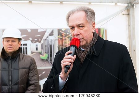 MOSCOW - JANUARY 27, 2015: Former Minister of Culture the rector of the Moscow State Conservatoire Alexander Sokolov speaks at a ceremony marking the start of construction of a new modern cultural center.
