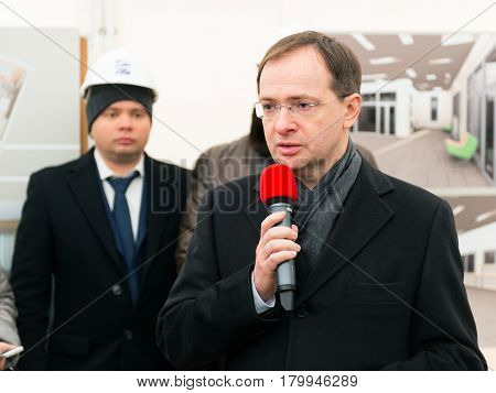 MOSCOW - JANUARY 27, 2015: Russian Minister of Culture Vladimir Medinsky speaks at a ceremony marking the start of construction of a new modern cultural center.