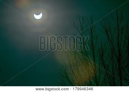 Solar eclipse in Moscow, Russia, 20 march 2015.