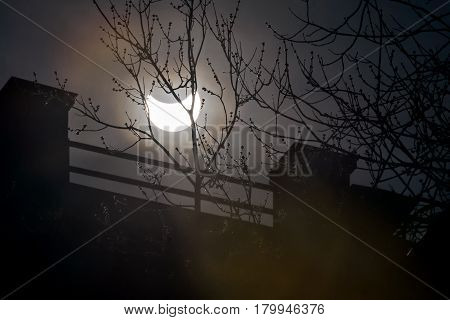 Solar eclipse in the middle of the day in Moscow, Russia, 20 march 2015.