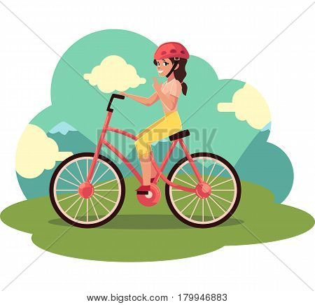 Young pretty woman, girl riding a bicycle, cycling, cartoon vector illustration. Full length, side view portrait of young pretty woman cycling in countryside,