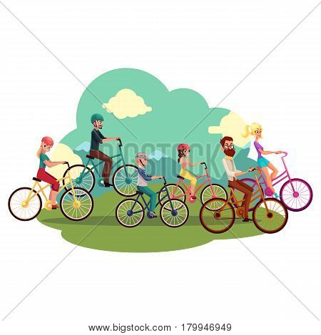 Family of four - father, mother, daughter, son - riding bicycles, cycling in countryside, cartoon vector illustration. Happy family of parents and two kids riding bicycles, summer outside activities