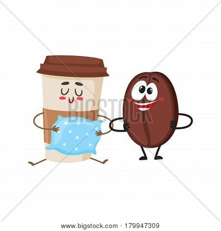 Crazy coffee bean and sleepy paper cup characters, breakfast, morning, wake up concept, cartoon vector illustration isolated on white background. Coffee bean and paper coffee cup characters, mascots