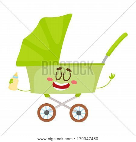 Cute and funny baby cart, stroller, buggy, carriage character, infant, newborn accessory, cartoon vector illustration isolated on white background. Baby cart, pushcart, stroller character, mascot