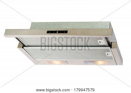Metallic cooker hood isolated on white background