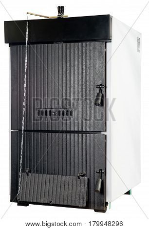 A residential furnace, burns firewood or coal and makes warm air,  isolated on white
