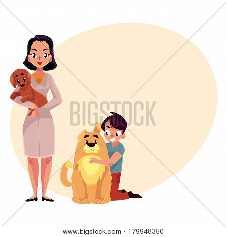 Woman, female veterinarian doctor, vet in white medical coat and little boy with dogs, puppies, cartoon vector illustration with space for text. Veterinarian doctor, vet and boy, dog owner