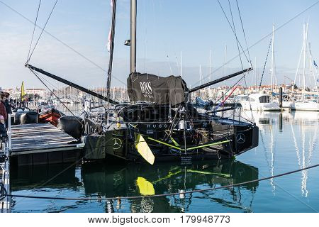 LES SABLES D'OLONNE, FRANCE - JANUARY, 21, 2017 : Skipper Alex Thomson boat Hugo Boss at the Vendee Globe pontoon the day after his arrival.