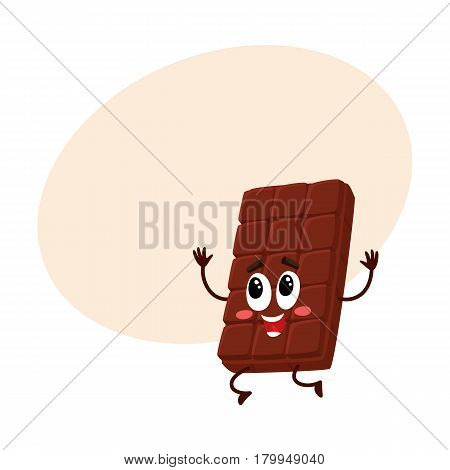 Cute chocolate bar character with funny face jumping from happiness and excitement, cartoon vector illustration with space for text. Happy, excited chocolate character, mascot, emoticon