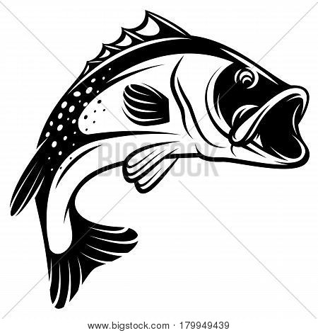 Vector monochrome illustration of a bass with fins tail and open mouth