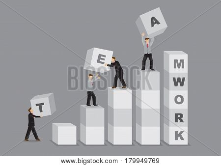 A group of business professionals working together as a team in building a stack of alphabet letter blocks to spell Teamwork. Creative cartoon vector illustration for concept on teamwork in business organization.